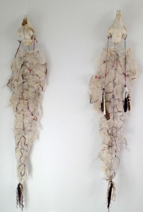 Sheep skulls, feathers, wire, felted lambs fleece, human hair and wool made of old saris from Nepal - 2012
