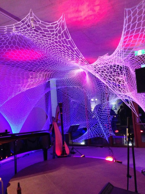 Hand-crocheted net installation for Woven Words, 27 April 2013, lighting by Aaron Sayer